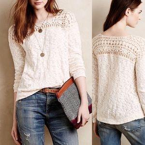 Anthro Meadow Rue Natural Kellen Crochet Pullover